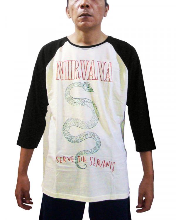 Nirvana - Serve The Servants Ecru-Black Men's Baseball Jersey