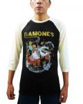 Ramones - Rocket Cartoon Black-Ecru Men's Baseball Jersey