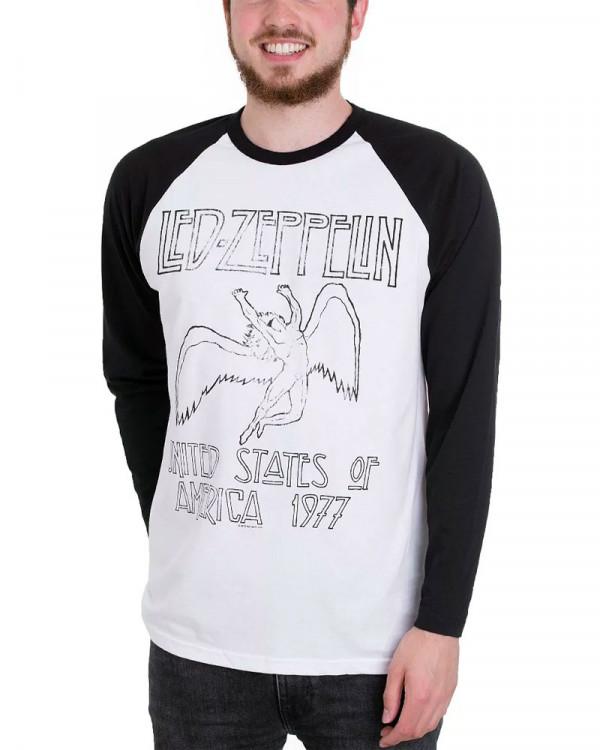 Led Zeppelin - USA 77 White Black Men's Baseball Jersey