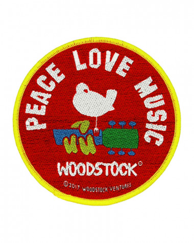 Woodstock - Peace Love Music Woven Patch