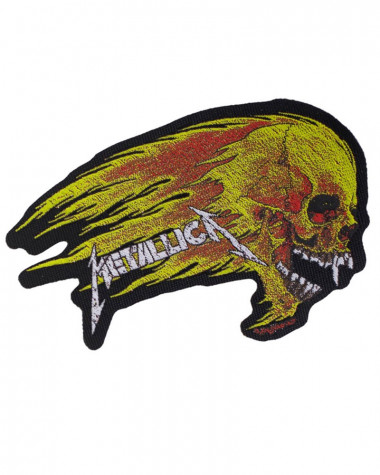 Metallica - Flaming Skull Cut-Out Woven Patch