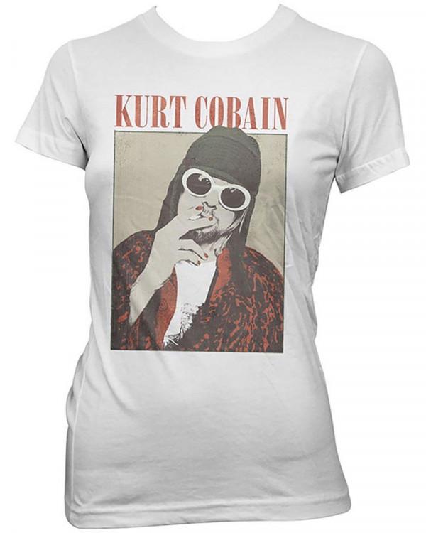 Kurt Cobain - Cigarette White Women's T-Shirt