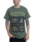 Led Zeppelin - Gold Symbols In Black Square Olive Green Men's T-Shirt