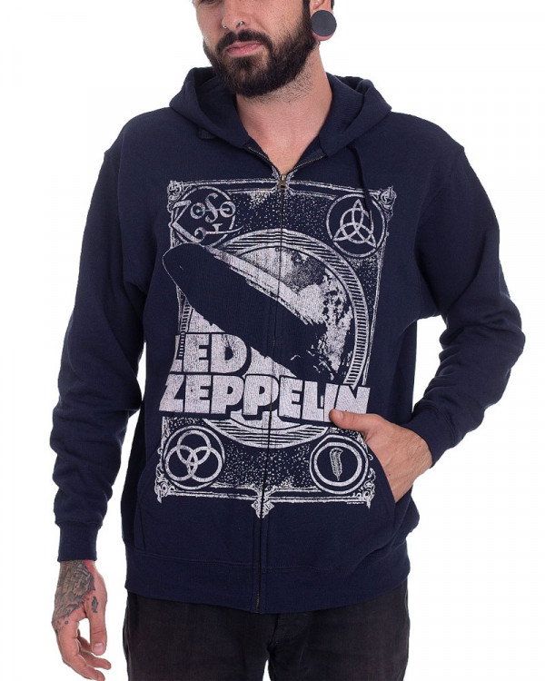 Led Zeppelin - Vintage Print Navy Men's Zip Hoodie