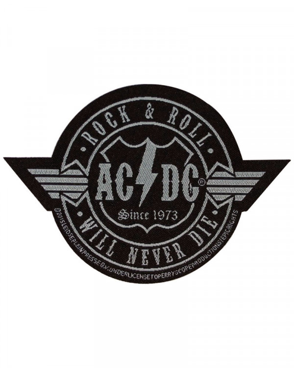 AC/DC - Rock N Roll Will Never Die Cut-Out Woven Patch